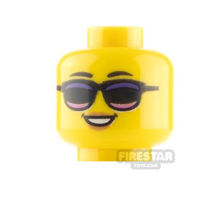 LEGO Minifigure Heads Peach Lips Smile and Sunglasses