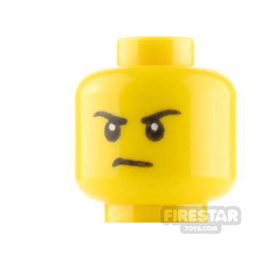 LEGO Minifigure Heads Black Eyebrows Grin and Frown