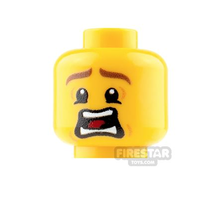 Custom Mini Figure Heads - Terrified - Male - Yellow