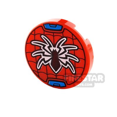 Printed Round Tile 2x2 Spider and Web