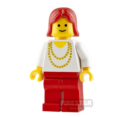 LEGO City Minifigure Gold Necklace and Red Hair
