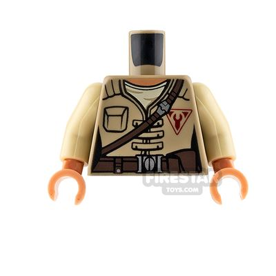 LEGO Mini Figure Torso - Dark Tan Jacket with Brown Belt Strap