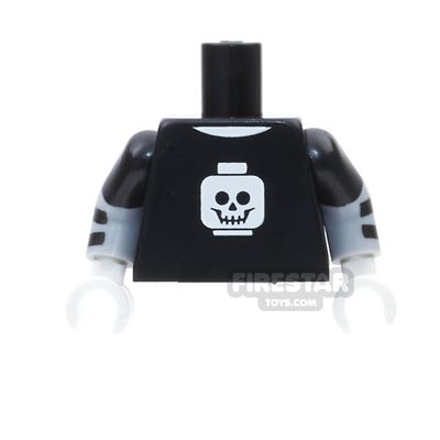 LEGO Mini Figure Torso -  Black With Skull Head and Short Sleeves