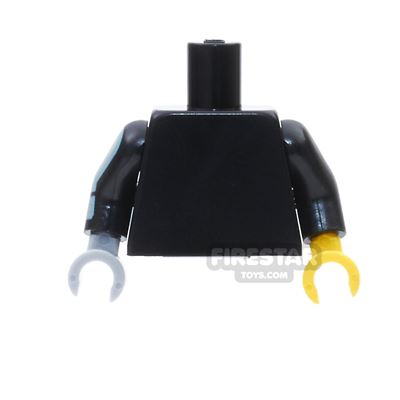 LEGO Mini Figure Torso -  Black With One Yellow / One Light Blueish Gray Hand