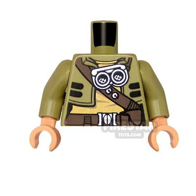 LEGO Mini Figure Torso - Cropped Jacket with Belts and Goggles