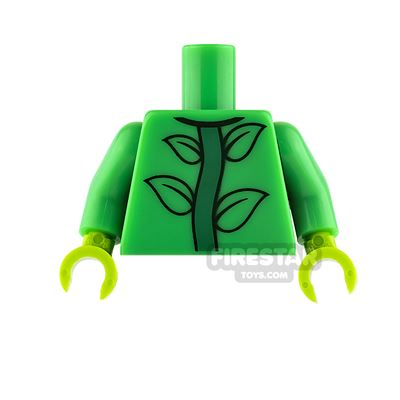 LEGO Mini Figure Torso - Bright Green with Plant Stem