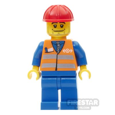 LEGO City Mini Figure - Orange Safety Vest and Stubble