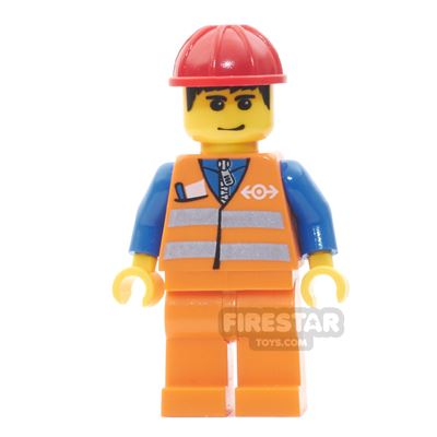 LEGO City Mini Figure - Orange Vest, Black Hair and Smirk