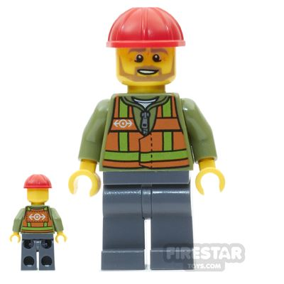 LEGO City Mini Figure - Light Orange Safety Vest - Tan Beard