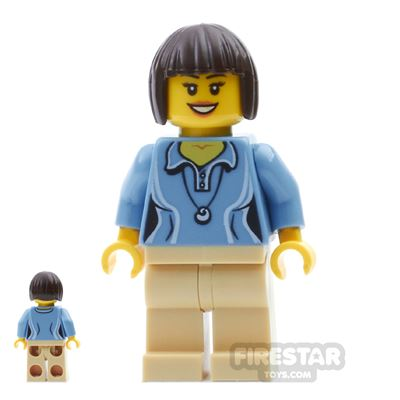LEGO City Mini Figure - Blue Shirt and Pendant