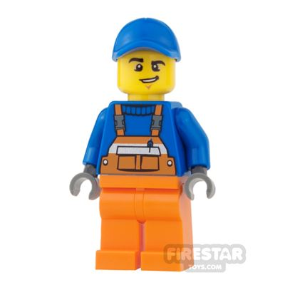 LEGO City Mini Figure - Orange Overalls with Lopsided Grin