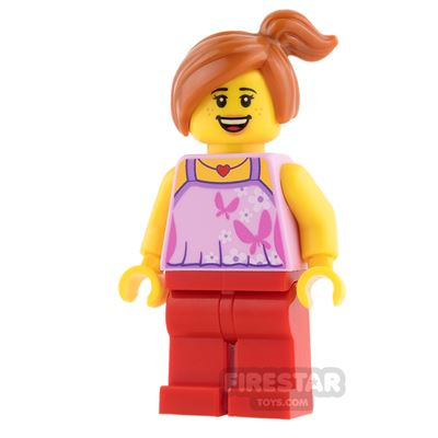 LEGO City Mini Figure - Child - Bright Pink Top with Butterflies