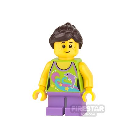 LEGO City Mini Figure - Girl With Dolphin Top - Dark Brown Hair