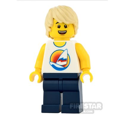 LEGO City Mini Figure - Surfboard Top with Tan Tousled Hair