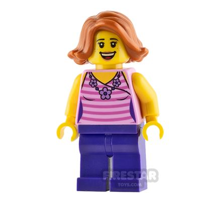 LEGO City Minifigure Pink Shirt with Flower Necklace