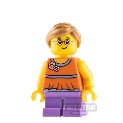 LEGO City Mini Figure - Girl with Orange Top and Lavender Legs